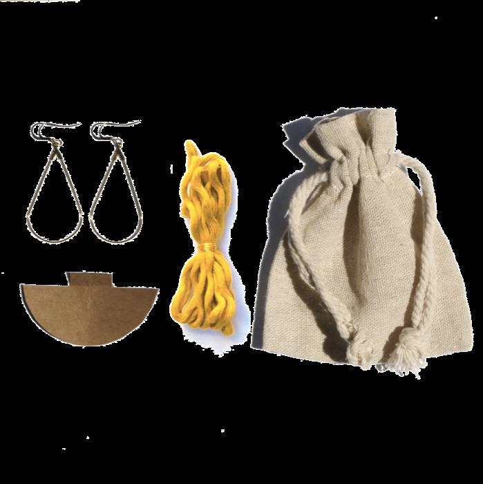 Kit boucles d'oreilles macramé moutarde