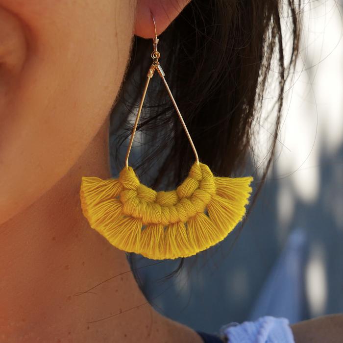 Kit macramé boucles d'oreilles moutardes